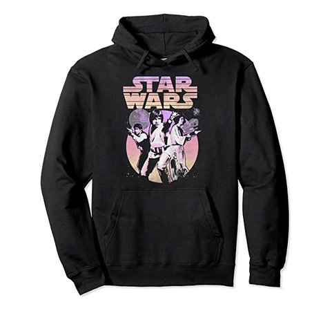 Amazon.com: Star Wars Retro Gradient Group Poster Pullover Hoodie: Clothing