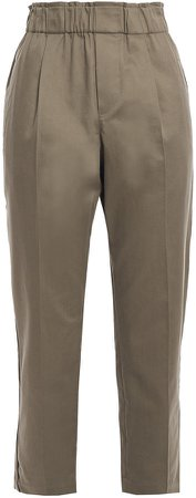 Bead-embellished Cotton-blend Twill Tapered Pants