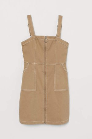 Bib Overall Dress - Beige