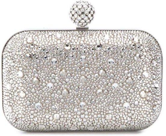 Cloud crystal-embellished clutch
