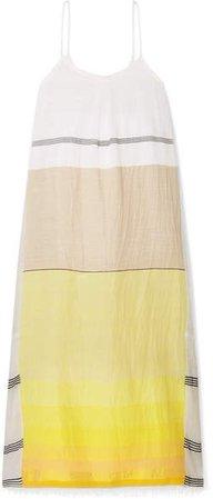 Zena Frayed Embroidered Cotton-blend Gauze Maxi Dress - Yellow