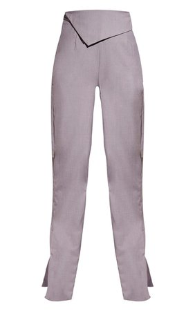 Mushroom Fold Detail Wide Leg Trousers | PrettyLittleThing USA
