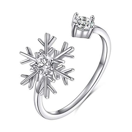 Amazon.com: S925 Sterling Silver Snowflake Adjustable Wrap Open Ring for Women Girl Jewelry: Clothing