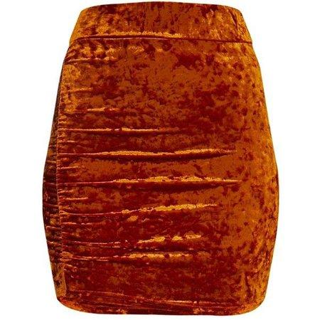 orange crushed velvet skirt