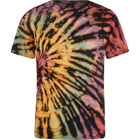 River Island Black Multi Tie Dye T-Shirt