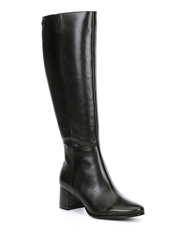 Calvin Klein Freeda Leather Tall Stovepipe Block Heel Boots | Dillard's