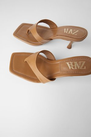 HEELED LEATHER SQUARE TOE SANDALS | ZARA United States brown