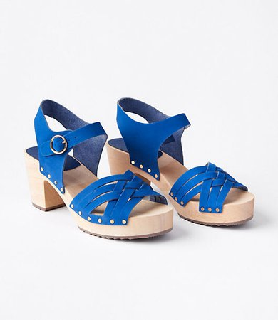 Woven Leather Clog Sandals