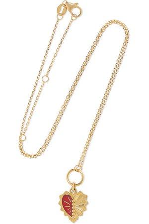 Foundrae   Mini Heart Love Token 18-karat gold and enamel necklace   NET-A-PORTER.COM