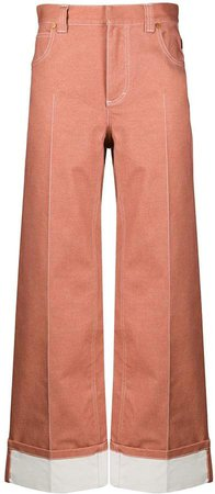 contrast stitch wide-leg trousers