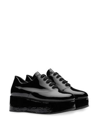 Black Miu Miu Platform Lace-Up Shoes | Farfetch.com
