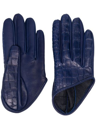 Manokhi Mano crocodile embossed short gloves