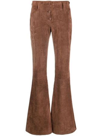 KNWLS high-rise Flared Suede Trousers - Farfetch