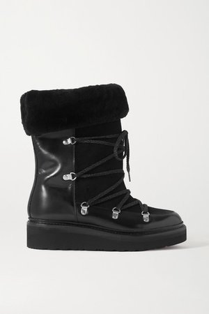 Camille Shearling-lined Leather And Suede Ankle Boots - Black