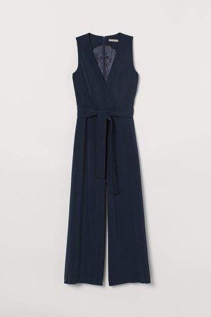 Jumpsuit with Tie Belt - Blue