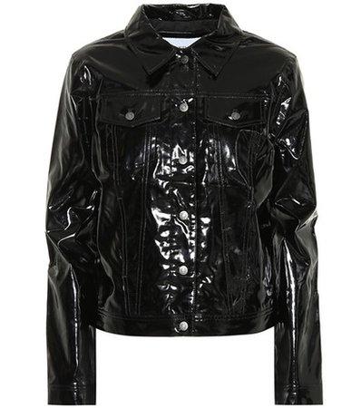 Faux patent leather jacket