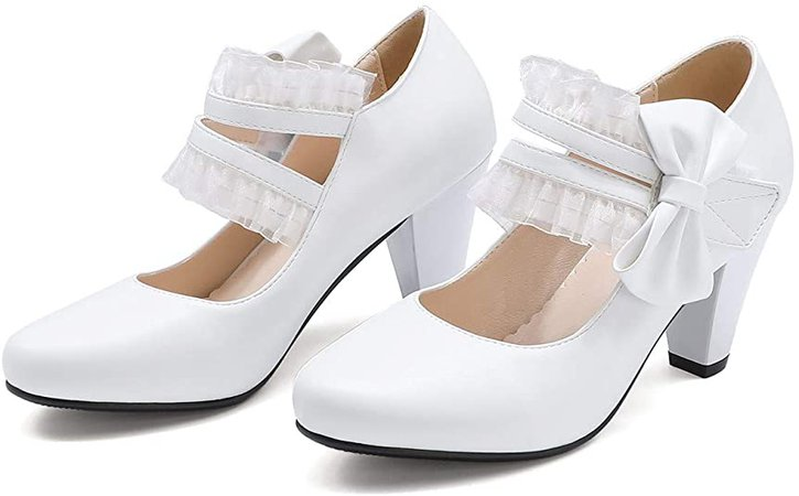Amazon.com | Odisen Bow lace Mary Jane Shoes Women Heels and Pumps Ladies Block High Heel Sweet Lolita Ankle Strap Dress Pumps Hook and Loop Heels Closed Toe | Pumps