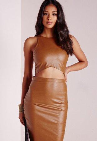 brown leather crop top