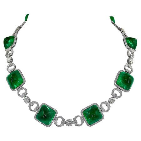 Colombian Emerald and Diamond Platinum Rose Gold Necklace For Sale at 1stDibs