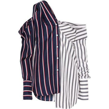 Monse Cold-shoulder striped silk-satin shirt