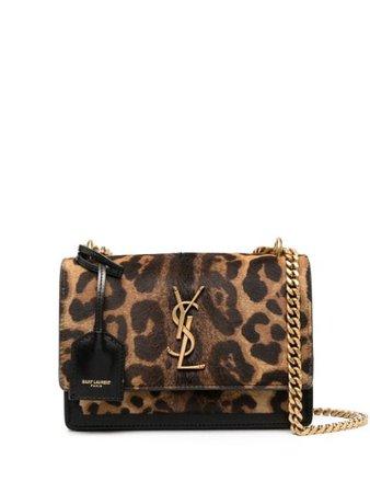 Saint Laurent Sunset Leopard Print Shoulder Bag - Farfetch