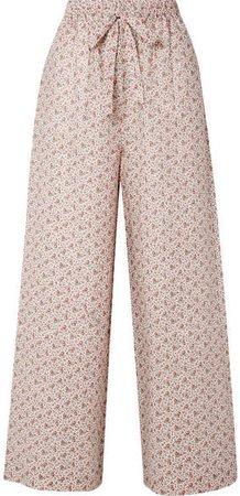 Heathers Floral-print Linen High-rise Wide-leg Pants - Cream