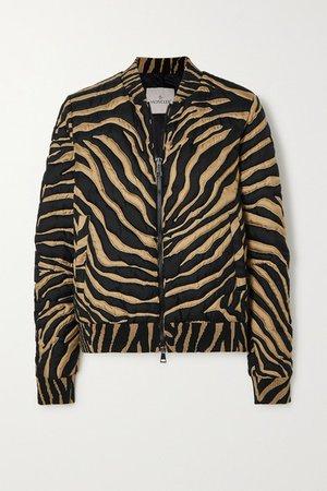 Quilted Zebra-print Silk Down Bomber Jacket - Zebra print