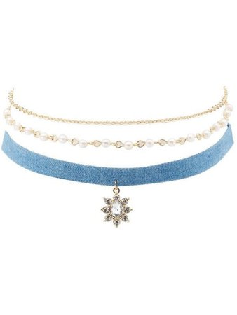 Gold and blue choker