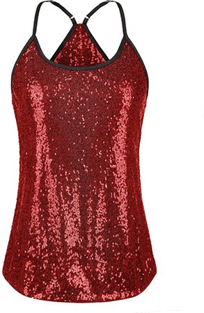 Amazon.com: Meaneor Women's Sequin Top Spaghetti Strap Tank Top Sparkle Shimmer Camisole Vest: Clothing
