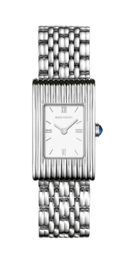 BOUCHERON, REFLET SMALL Watch in stainless steel, white lacquered dial with roman numerals, stainless steel bracelet