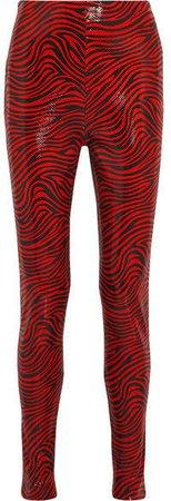 Stand Studio - Pernille Teisbaek Zebra-print Faux Leather Skinny Pants - Red