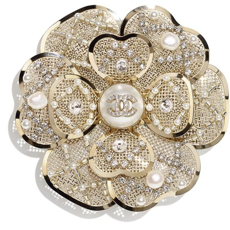 Brooch, metal, cultured freshwater pearl, glass pearl, artificial pearl and strass, gold, mother of pearl white and crystal - CHANEL
