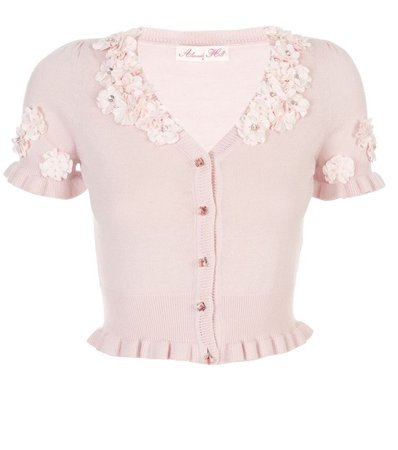 Pink Crop Cardigan With Flowers Detail