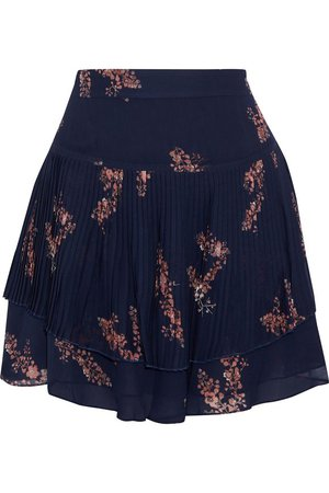 Layered pleated floral-print chiffon mini skirt | DEREK LAM 10 CROSBY | Sale up to 70% off | THE OUTNET
