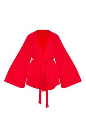 Red Waist Tie Playsuit | PrettyLittleThing