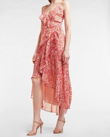 Paisley Ruffle Wrap Maxi Dress