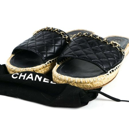 Chanel Sandals Tan Espadrille Slides Black Leather CC Charm Chain 38 U - Luxury Resale Network