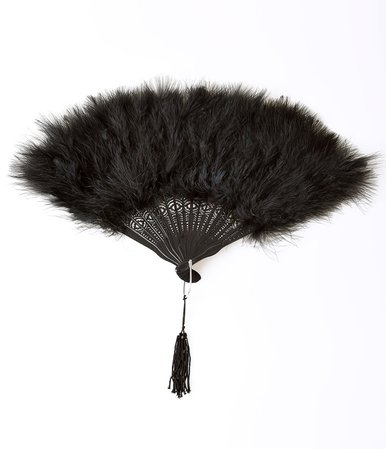 Vintage 20s Black Feathered Fan