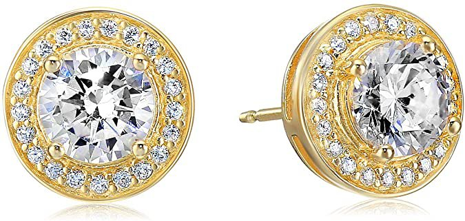 Amazon.com: Amazon Essentials Yellow Gold Plated Sterling Silver Cubic Zirconia Halo Stud Earrings: Clothing