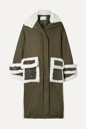 Adira Oversized Textured-leather And Shearling-trimmed Shell Parka - Army green