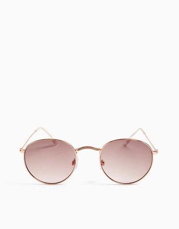 Круглые солнцезащитные очки в металлической оправе цвета розового золота Topshop | ASOS