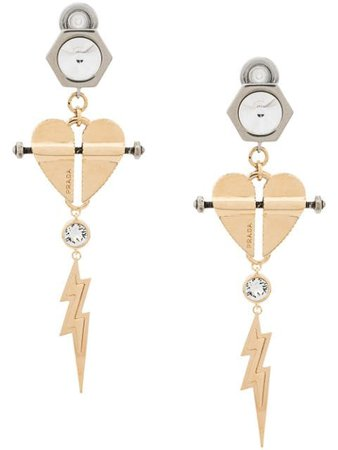 Prada Heart And Lightning Earrings 1JO530PL8 Gold | Farfetch
