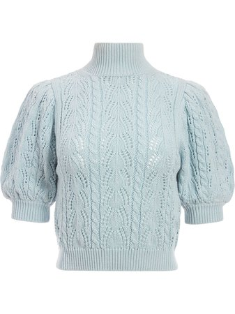 Alice+Olivia Kyoko pointelle-knit cropped top