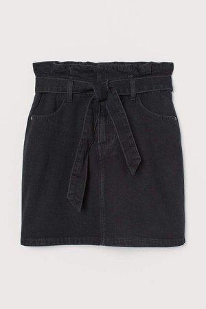 Denim Paper-bag Skirt - Black