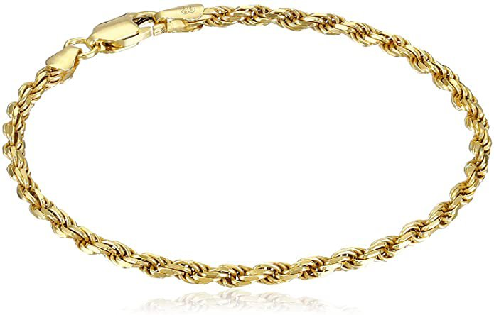 """Amazon.com: Amazon Essentials Yellow Gold Plated Sterling Silver Diamond-Cut Rope Chain Link Bracelet, 7"""": Clothing"""