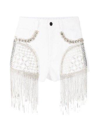 White shorts w/ silver tassels
