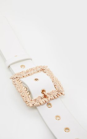 White Wide Waist Belt Gold Leaf Effect Buckle Belt   PrettyLittleThing