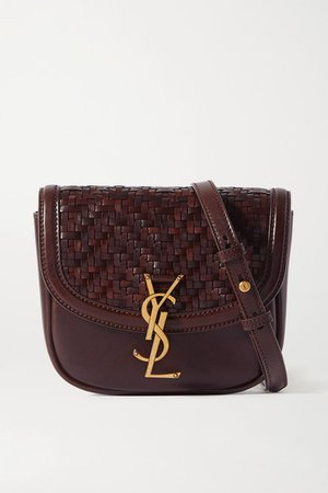 Kaia Small Woven Leather Shoulder Bag - Brown