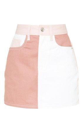 Multi Colour Block Denim Skirt | Denim | PrettyLittleThing