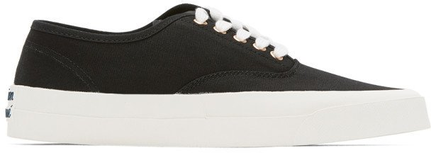 Black Canvas Laced Sneakers